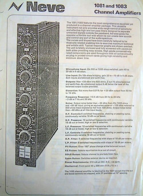 Neve 1081 Spec Sheet