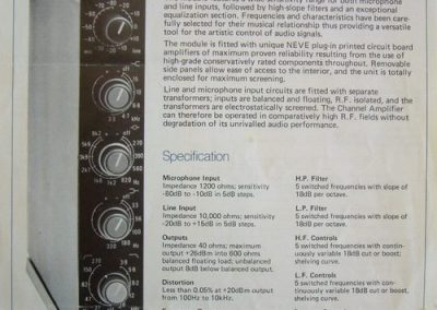 Neve 33114 Channel Amp Spec Sheet