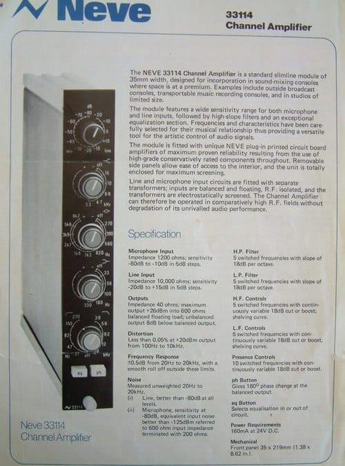 Neve 33114 Channel Amp Spec Sheet