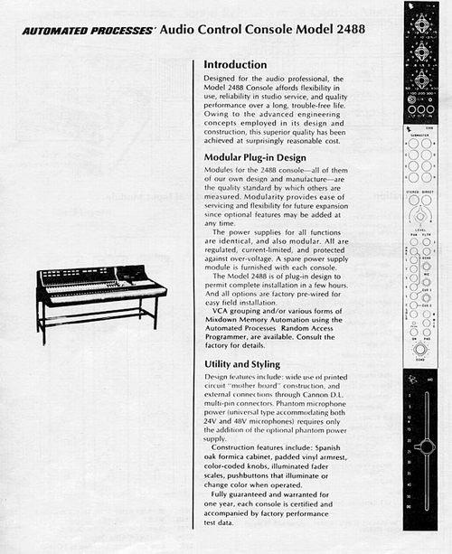 API 2488 Mixing Console Brochure