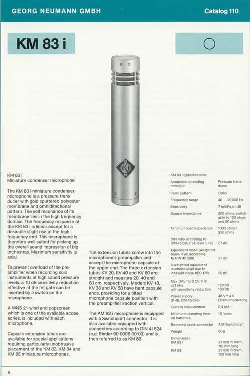 Neumann KM 83i Spec Sheet