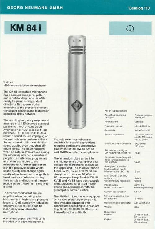 Neumann KM 84i Spec Sheet