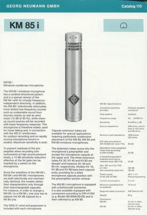 Neumann KM 85i Spec Sheet