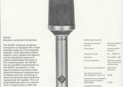 Neumann KM 86i Spec Sheet