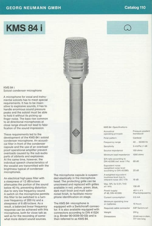 Neumann KMS 84i Spec Sheet