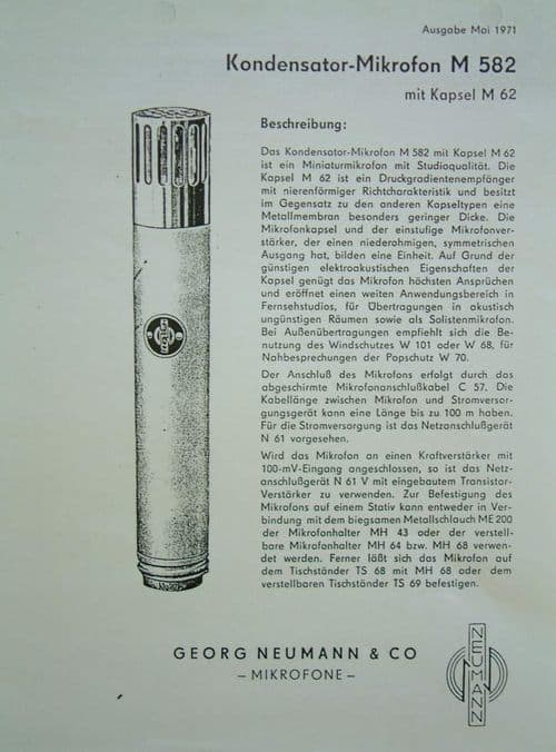Neumann M62 Brochure Page