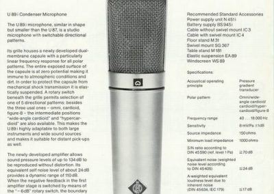 Neumann U89 i Spec Sheet