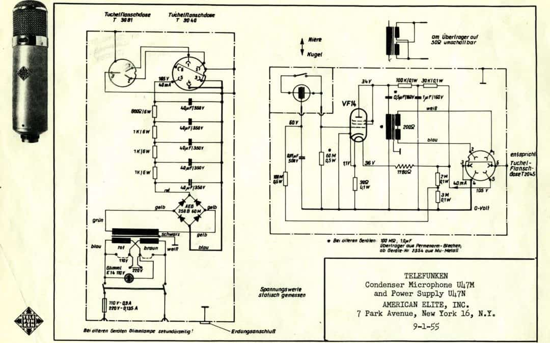 Telefunken U47M Microphone, and U47N Power Supply Schematics