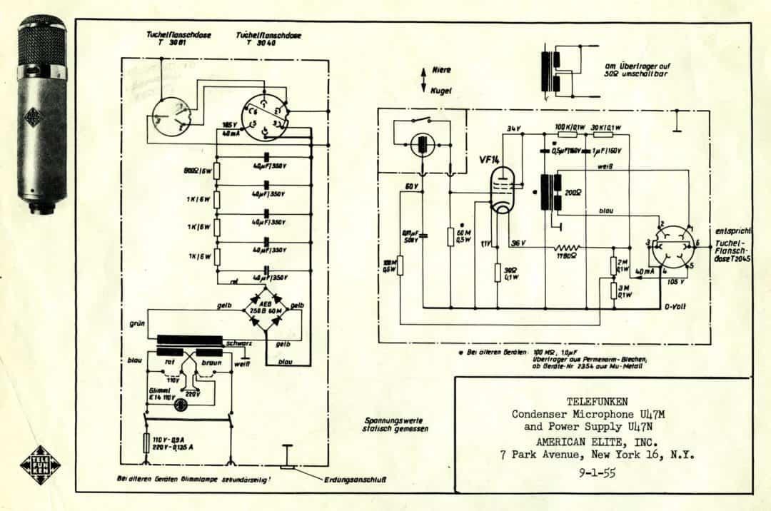 Telefunken U47M Microphone, and U47N Power Supply Schematics
