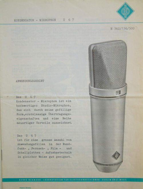 Neumann U67 Brochure Page
