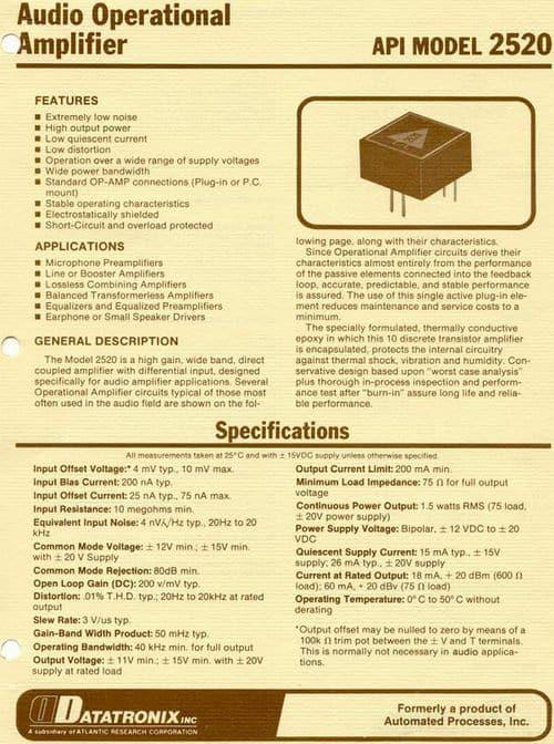 API 2520 Op Amplifier Brochure