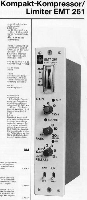 EMT 261 Compressor Spec Sheet