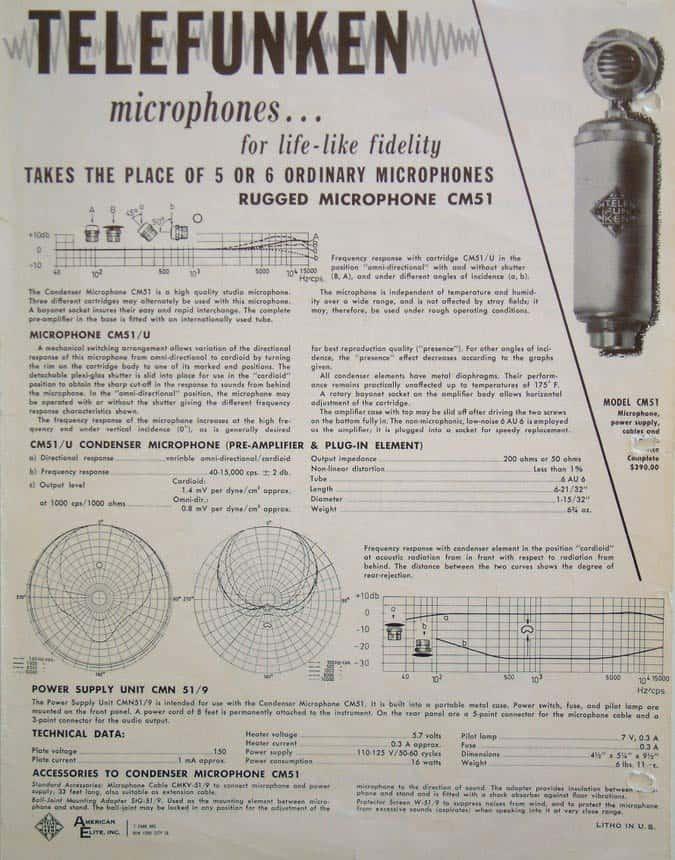 Telefunken CM 51 Spec Sheet