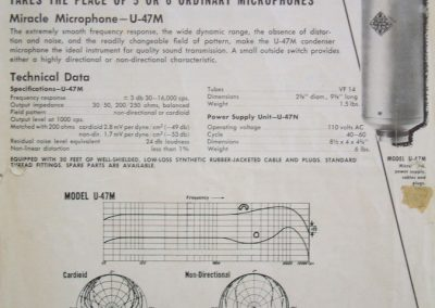 Neumann U47 Spec Sheet