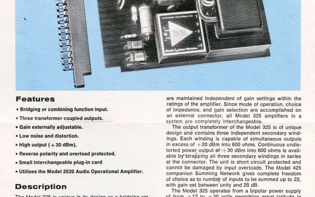 API 325 Amplifier Card Brochure