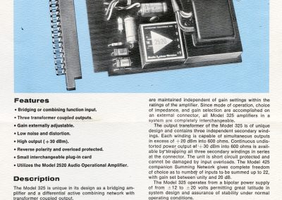 API 325 Amplifier Card Brochure