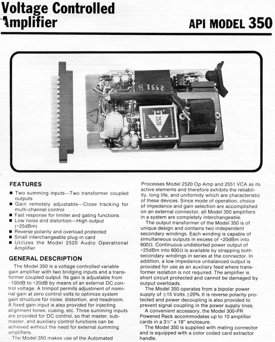 API 350 Brochure
