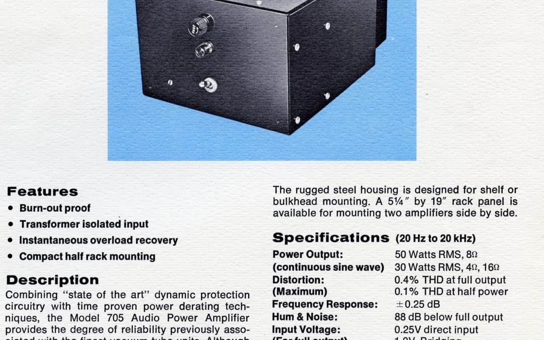 API 705 Audio Power Amplifier Brochure
