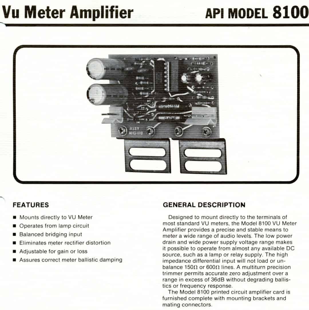 Api 8100 Vu Meter Amp Brochure Dan Alexander Audio Distortion