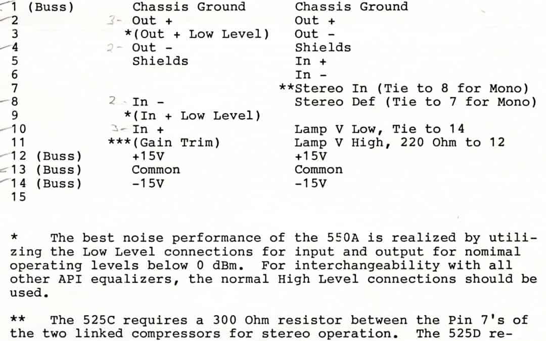API 550A and 525C Module Wiring