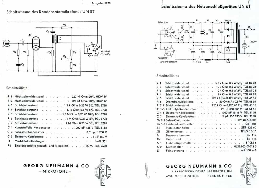 Neumann UM57 and UN61 Schematics