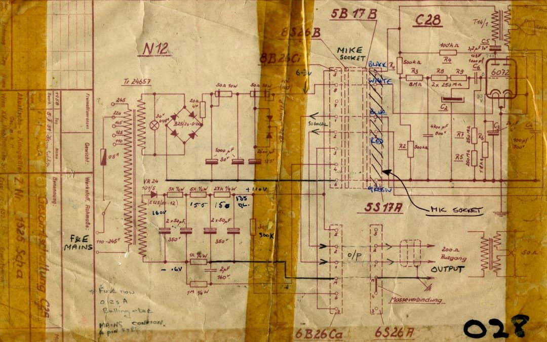 AKG C28A and N12 Power Supply Schematic