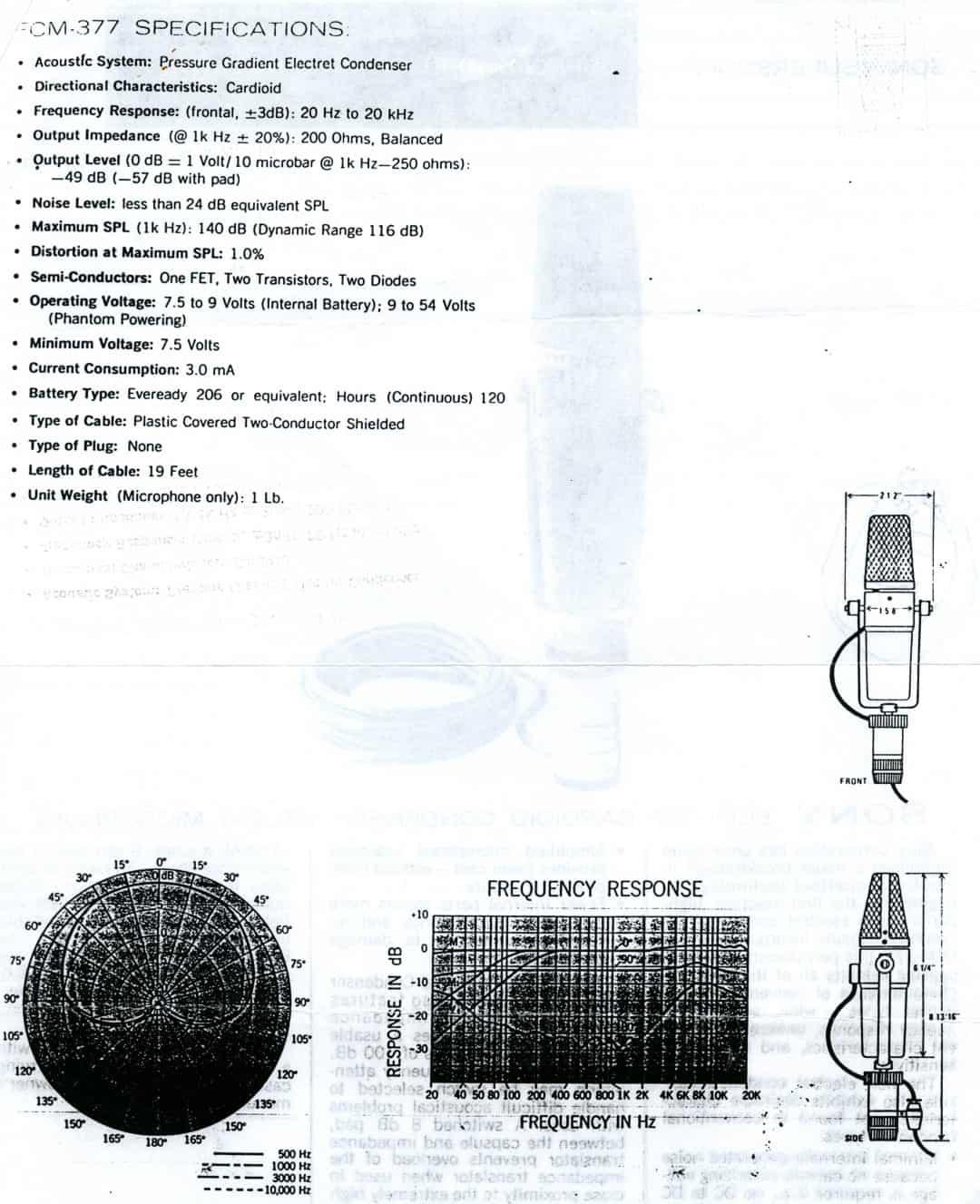 Sony ECM-377 Spec Sheet