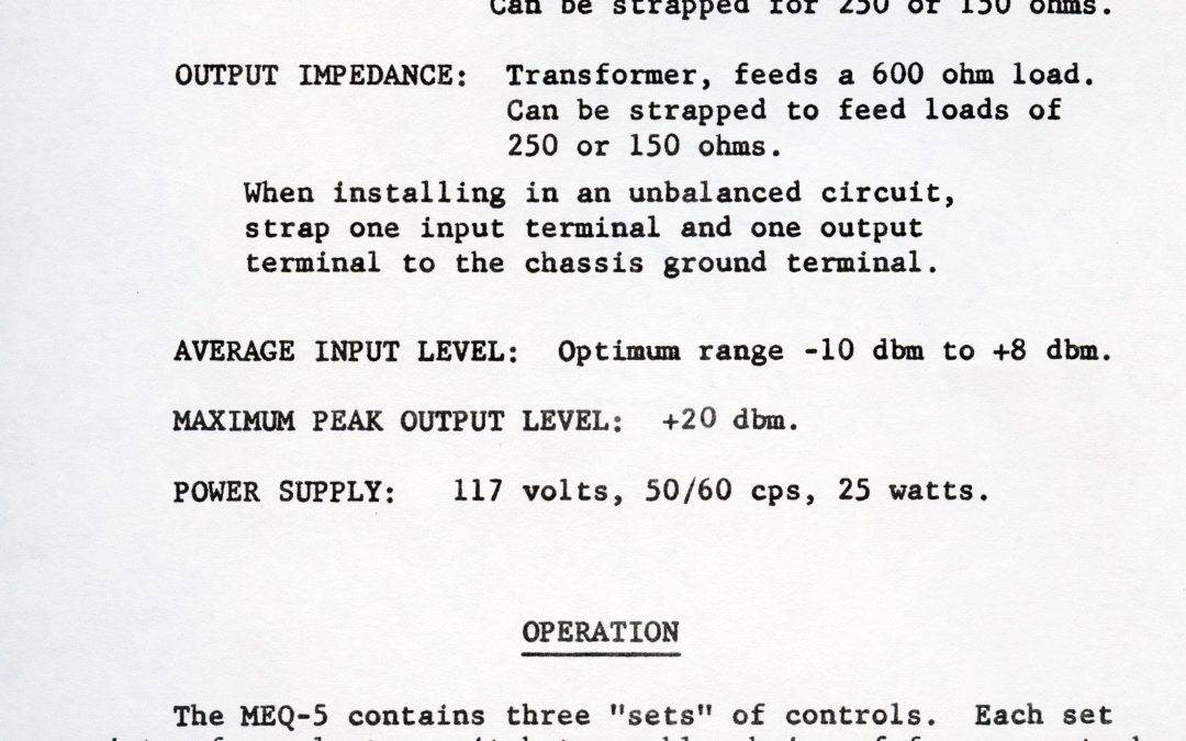 Pultec MEQ-5 Installation Instructions