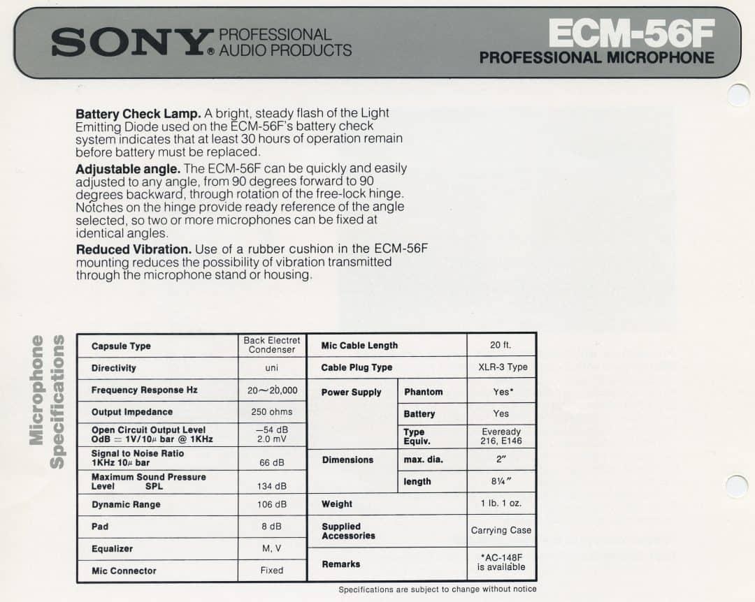 Sony ECM-56F Spec Sheet