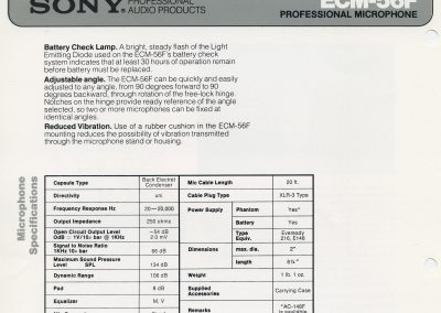 Sony ECM-56F Spec Sheet
